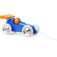 Blue & Orange Wooden Racing Racing Car Pull Along